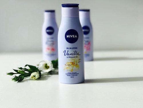 Nivea, Oil in Lotion, Vanilla, Cherry Blossom, Rose, hudpleje, krop, blød, duft