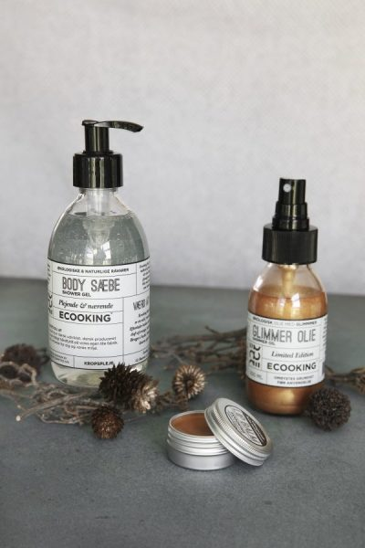 Ecooking, glimmer, jul, økologisk, hudpleje, showergel, kropsolie, læbebalm