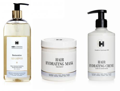 Hårklinikken, hår, hårplejesæt, parfumefri, hårpleje, shampoo, hårkur, fugtcreme