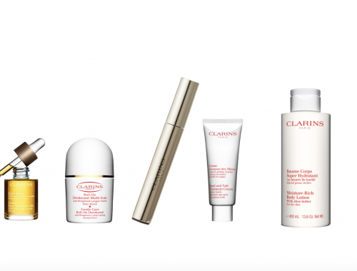 Clarins, bodylotion, håndcreme, mascara, ansigtsolie, roll-on
