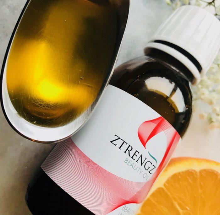 Ztrength, Beauty Oil, shot, olie, pleje, indefra, kosttilskud