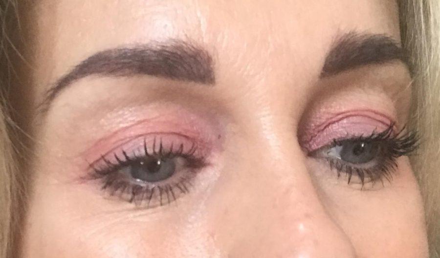 Hverdagsmakeup, glød, hud, rosa, øjenskygge