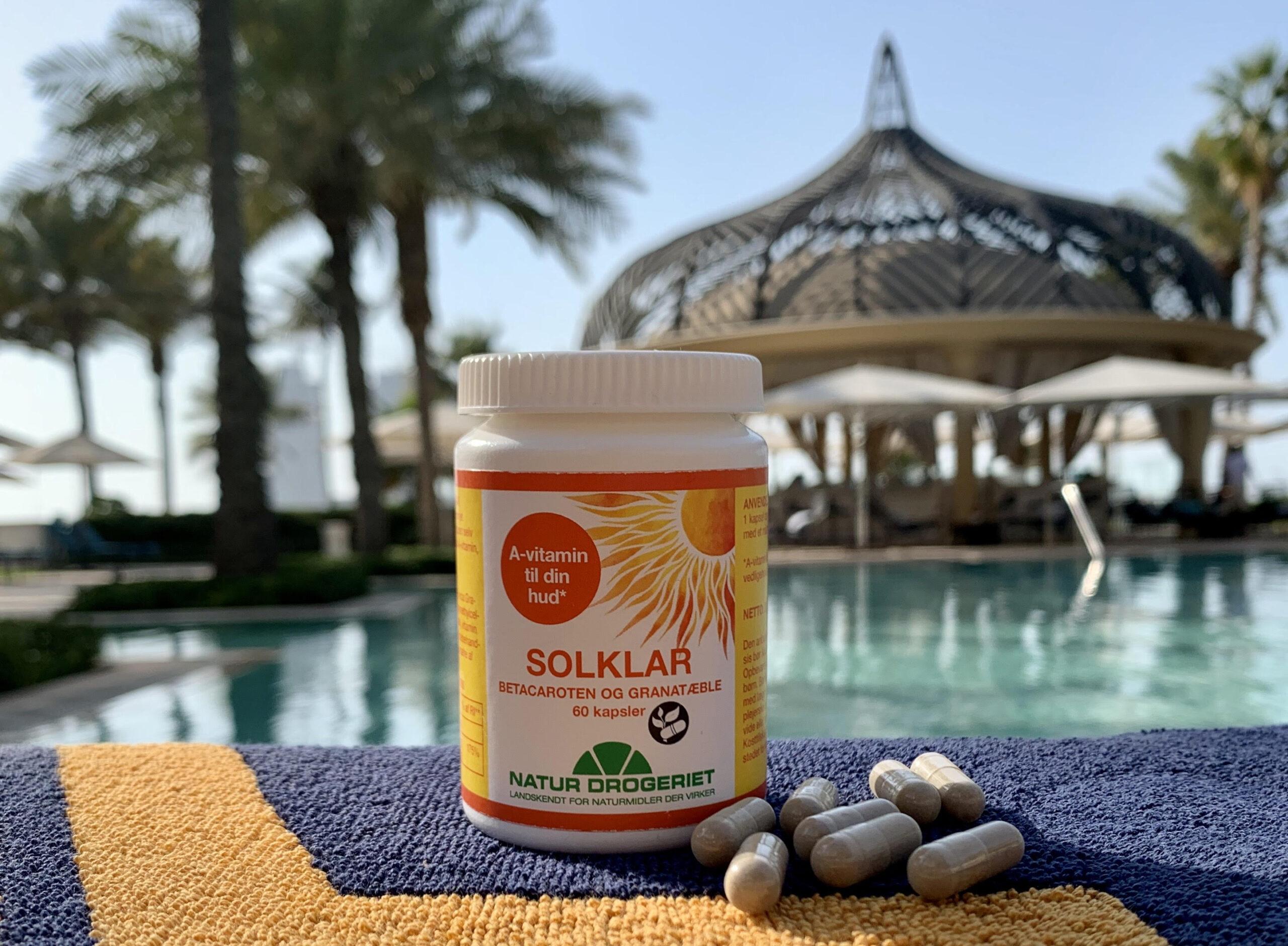 Solklar, test, hudpleje, kosttilskud, Vitamin A, sol