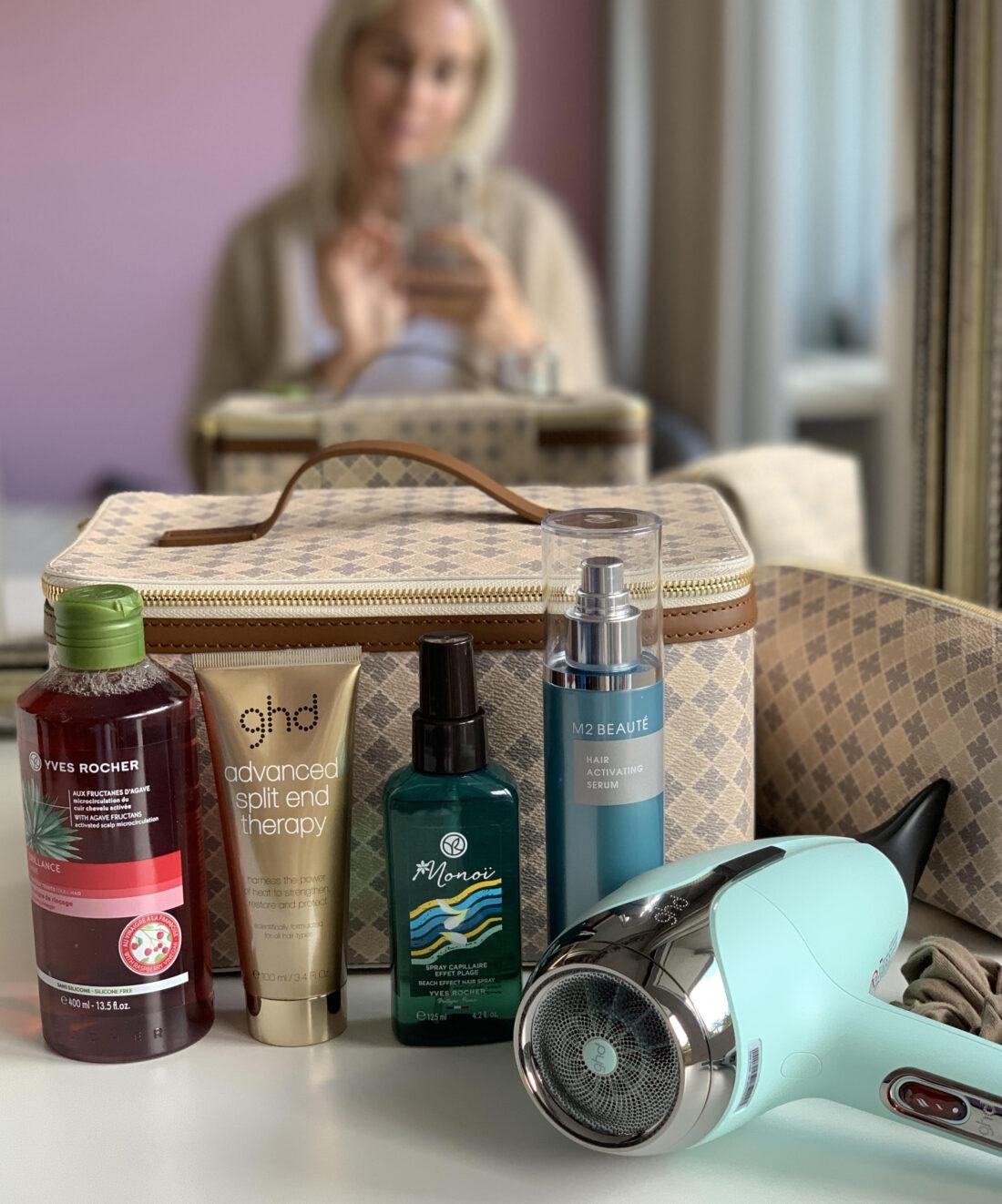 hårfavoritter, saltvansspray, håreddike, hårserum, hårpleje, hårtørrer,
